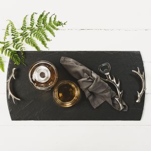 Large Slate Tray with Antler Handles