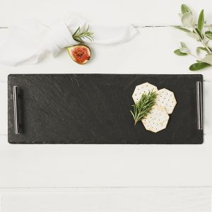 Small Slate Serving Tray with Plain Handles