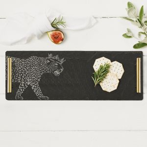 Slate Crowned Leopard Serving Tray With Gold Handles