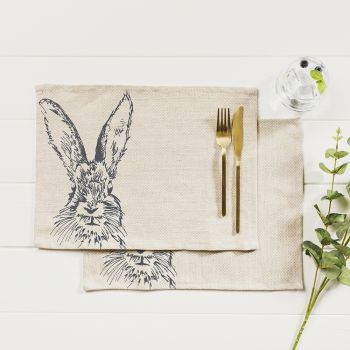 Main image of 2 Hare Linen Place Mats