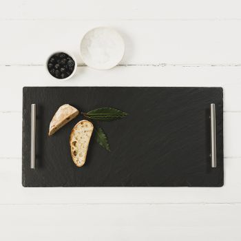 Large Slate Serving Tray with Plain Handles