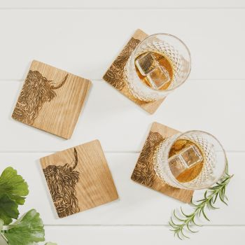 Product Image 4 Highland Cow Veneer Coasters at JustSlate