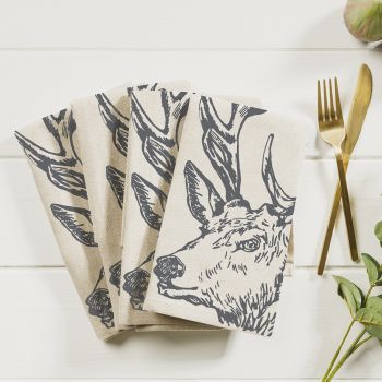 Main image of 4 Stag Linen Napkins
