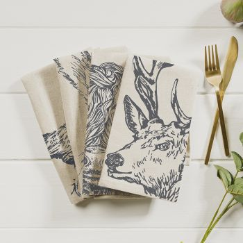 Main image of 4 Country-Animals Linen Napkins