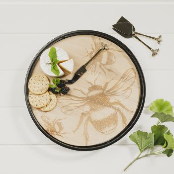 Product Image Bee Round Metal Framed Sycamore Serving Tray at JustSlate