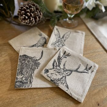 Main image of 4 Country Animals Linen Coasters