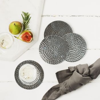 Four Stainless Steel Flat Hammered Coasters