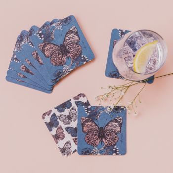 Main image of Re-Usable/Reversible Butterfly Print Paper Coasters (Pack Of 10)