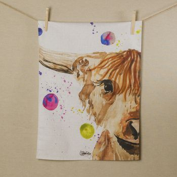 Main image of Highland Cow Water Colour Tea Towel