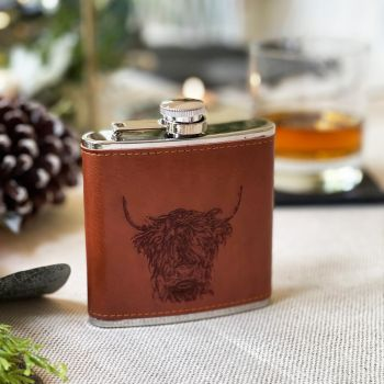 Main image of Highland Cow Engraved Leather Wrapped Hipflask