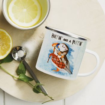 Small image of Huffin And A Puffin Enamel Mug
