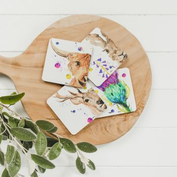 4 Water Colour Mixed Coasters