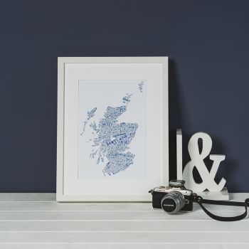 Small image of A4 Scotland Map Print - Navy - White Frame