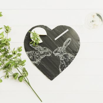 Main image of Kissing Hare Slate Cheese Board with Chalk Pencil
