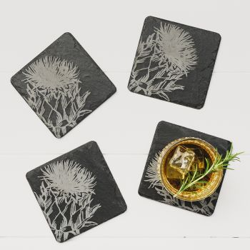 4 Contemporary Thistle Slate Coasters