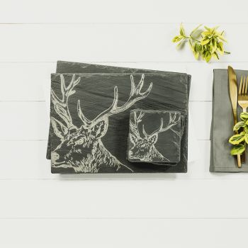 Main image of Set of 2 Stag Slate Coasters & Place Mats