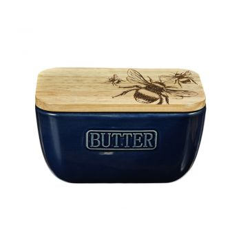 Alternative image of Bee Oak and Ceramic Butter Dish - Blue