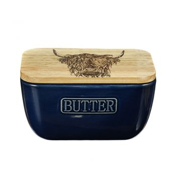 Alternative image of Highland Cow Oak and Ceramic Butter Dish - Blue