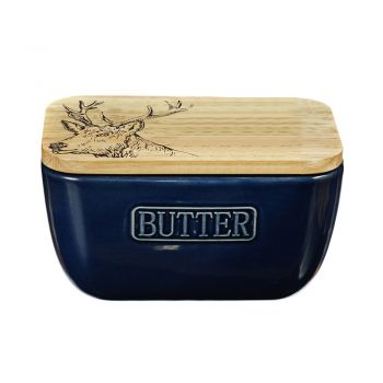 Alternative image of Stag Oak and Ceramic Butter Dish - Blue