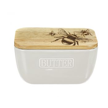 Main image of Bee Oak and Ceramic Butter Dish - White
