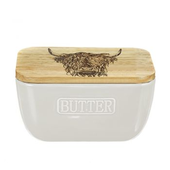 Small image of Highland Cow Oak and Ceramic Butter Dish - White