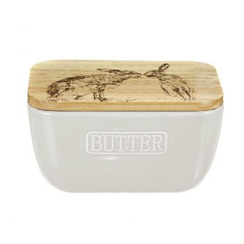 Small image of Kissing Hares Oak and Ceramic Butter Dish - White