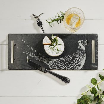 Small image of Pheasant Tray, Copper Cheese Knife & Pheasant Bottle Stopper Gift Set