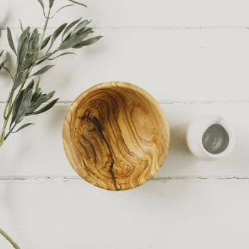 Small Round Olive Wood Serving Bowl - 15cm