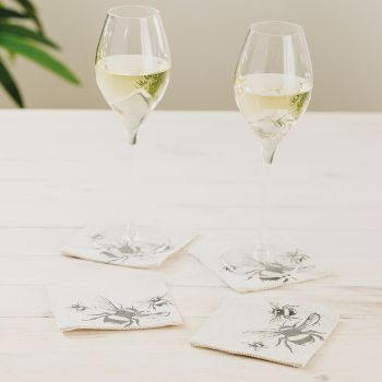 Small image of 4 Bee Linen Coasters