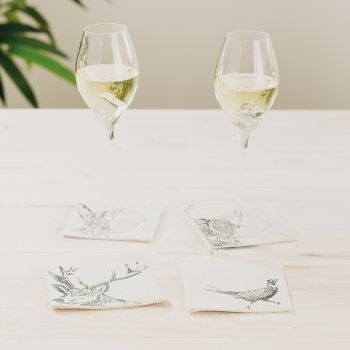 Small image of 4 Country Animals Linen Coasters
