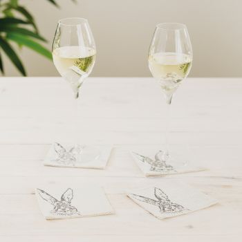 Small image of 4 Hare Linen Coasters