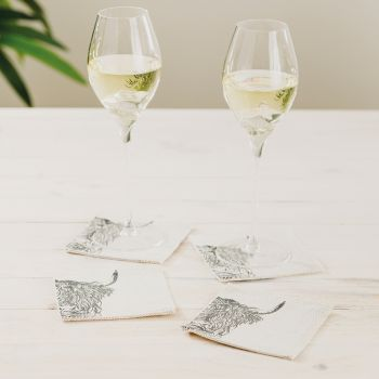 Small image of 4 Highland Cow Linen Coasters