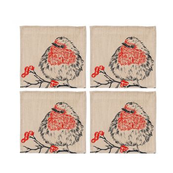 Small image of 4 Robin Linen Coasters