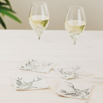 Small image of 4 Stag Linen Coasters