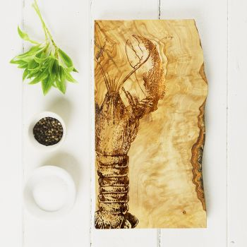 Main image of Lobster Engraved Rustic Olive Wood Chopping Board