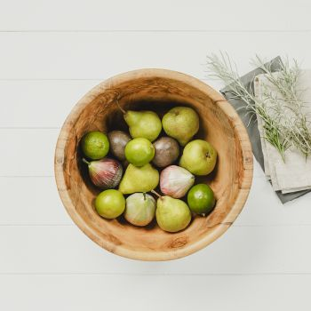 Mediterranean Large Round Olive Wood Serving Bowl Set from Naturally Med