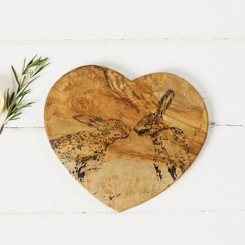 Main image of Kissing Hares Engraved Heart Olive Wood Board