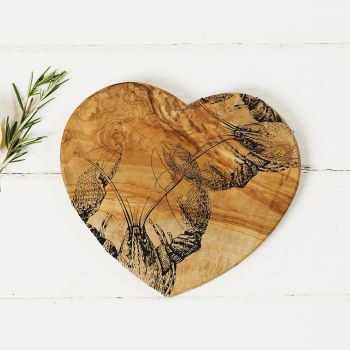 Main image of Lobster Engraved Heart Olive Wood Board