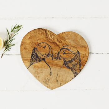 Main image of Puffins Engraved Heart Olive Wood Board