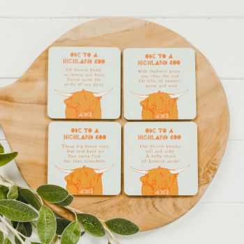 Small image of Ode To A Highland Coo Coasters (Set Of 4)