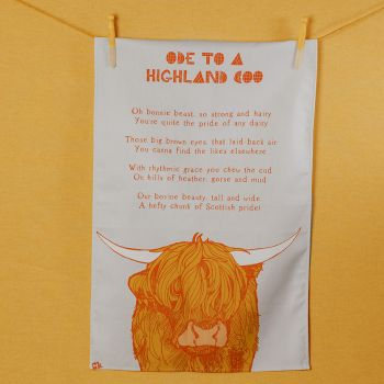 Small image of Ode To A Highland Coo Tea Towel