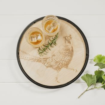 Buy Pheasant Round Metal Framed Sycamore Serving Tray