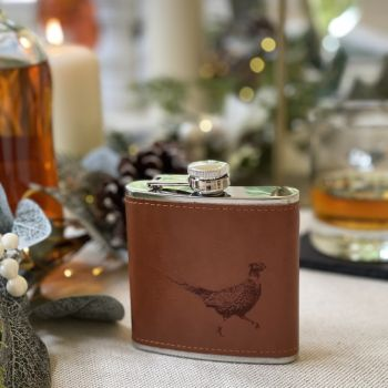 Main image of Pheasant Engraved Leather Wrapped Hipflask