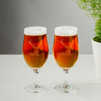 Buy Set of 2 Stag Engraved Style Craft Beer Glasses