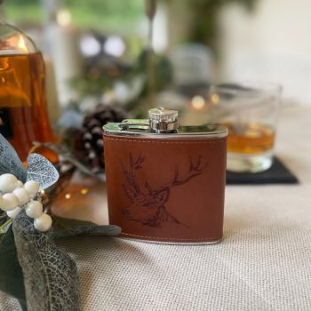 Main image of Stag Engraved Leather Wrapped Hipflask