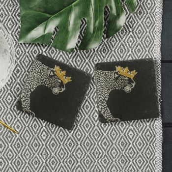 2 Slate Gold Crowned Leopard Coasters