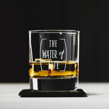 Product Image The Water of Life Engraved Style Glass Tumbler with Slate Coaster Gift Set at JustSlate